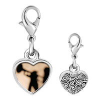 Link Charm Bracelet - 925  sterling silver trumpet music silhouette photo heart frame link charm Image.