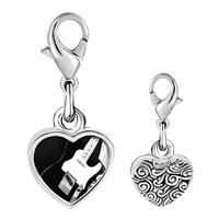 Link Charm Bracelet - 925  sterling silver black electric guitar photo heart frame link charm Image.