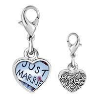 Link Charm Bracelet - 925  sterling silver just married sign photo heart frame link charm Image.