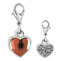 Link Charm Bracelet - 925  sterling silver classic guitar photo heart frame link charm Image.