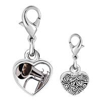 Link Charm Bracelet - 925  sterling silver silver tone trumpet photo heart frame link charm Image.