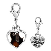 Link Charm Bracelet - 925  sterling silver hollow body electric guitar photo heart frame link charm Image.