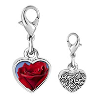 Link Charm Bracelet - 925  sterling silver red rose in sunshine photo heart frame link charm Image.