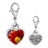 Link Charm Bracelet - 925  sterling silver orange daisy photo heart frame link charm Image.