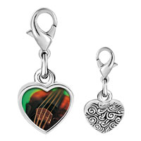 Link Charm Bracelet - 925  sterling silver violin string music photo heart frame link charm Image.