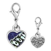 Link Charm Bracelet - 925  sterling silver flute music photo heart frame link charm Image.