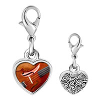 Link Charm Bracelet - 925  sterling silver first chair violin photo heart frame link charm Image.