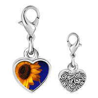 Link Charm Bracelet - 925  sterling silver yellow sunflower photo heart frame link charm Image.