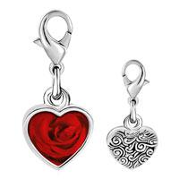 Link Charm Bracelet - 925  sterling silver dew drop rose photo heart frame link charm Image.