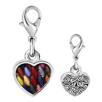 Link Charm Bracelet - 925  sterling silver crayons for children photo heart frame link charm Image.