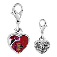 Link Charm Bracelet - 925  sterling silver heart and flowers photo heart frame link charm Image.