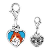 Link Charm Bracelet - 925  sterling silver smiling bunny rabbit photo heart frame link charm Image.