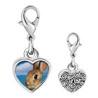 Link Charm Bracelet - 925  sterling silver alert bunny rabbit photo heart frame link charm Image.