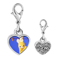 Link Charm Bracelet - 925  sterling silver clothesline bunny rabbit photo heart frame link charm Image.
