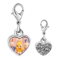 Link Charm Bracelet - 925  sterling silver stuffed bunny rabbits photo heart frame link charm Image.