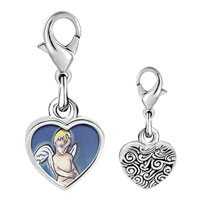 Link Charm Bracelet - 925  sterling silver cupid bringing love photo heart frame link charm Image.