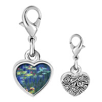 Link Charm Bracelet - 925  sterling silver monet water lilies photo heart frame link charm Image.