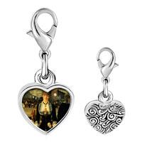 Link Charm Bracelet - 925  sterling silver manet folies bergere art photo heart frame link charm Image.