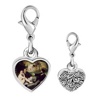 Link Charm Bracelet - 925  sterling silver manet luncheon on grass art photo heart frame link charm Image.