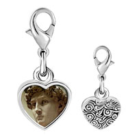 Link Charm Bracelet - 925  sterling silver michelangelo david head photo heart frame link charm Image.