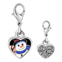 Link Charm Bracelet - 925  sterling silver snowman and candy cane photo heart frame link charm Image.