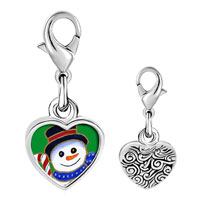 Link Charm Bracelet - 925  sterling silver candy cane snowman photo heart frame link charm Image.