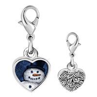Link Charm Bracelet - 925  sterling silver snowman smile photo heart frame link charm Image.