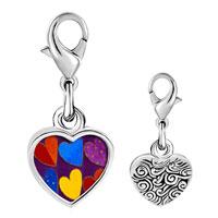 Link Charm Bracelet - 925  sterling silver six hearts photo heart frame link charm Image.