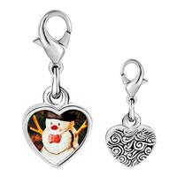 Link Charm Bracelet - 925  sterling silver snowman photo heart frame link charm Image.