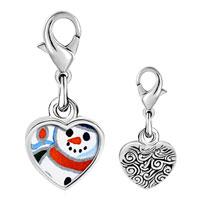 Link Charm Bracelet - 925  sterling silver sunset snowman photo heart frame link charm Image.