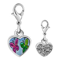 Link Charm Bracelet - 925  sterling silver butterfly times two photo heart frame link charm Image.