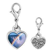 Link Charm Bracelet - 925  sterling silver rainbow over waterfall photo heart frame link charm Image.