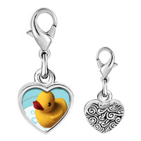 Link Charm Bracelet - 925  sterling silver swimming rubber duckyphoto heart frame link charm Image.