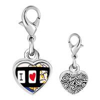 Link Charm Bracelet - 925  sterling silver i heart popcorn photo heart frame link charm Image.