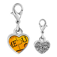 Link Charm Bracelet - 925  sterling silver me you puzzle photo heart frame link charm Image.
