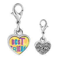 Link Charm Bracelet - 925  sterling silver best friends colorful photo heart frame link charm Image.