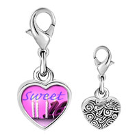 Link Charm Bracelet - 925  sterling silver pink sweet sixteen photo heart frame link charm Image.