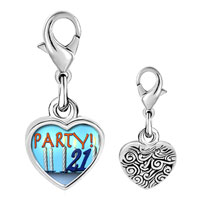 Link Charm Bracelet - 925  sterling silver birthday party 21  photo heart frame link charm Image.