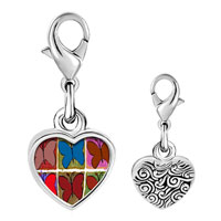 Link Charm Bracelet - 925  sterling silver colorful butterfly print photo heart frame link charm Image.
