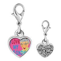 Link Charm Bracelet - 925  sterling silver i love my grandma photo heart frame link charm Image.