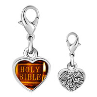 Link Charm Bracelet - 925  sterling silver leather bound holy bible photo heart frame link charm Image.