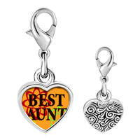 Link Charm Bracelet - 925  sterling silver best aunt photo heart frame link charm Image.