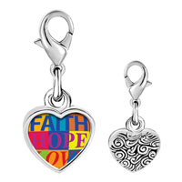Link Charm Bracelet - 925  sterling silver faith hope love photo heart frame link charm Image.