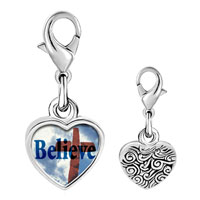 Link Charm Bracelet - 925  sterling silver believe with cross photo heart frame link charm Image.