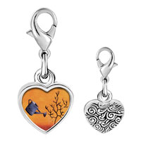 Link Charm Bracelet - 925  sterling silver water a tree photo heart frame link charm Image.