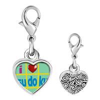 Link Charm Bracelet - 925  sterling silver i heart sudoku photo heart frame link charm Image.