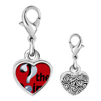 Link Charm Bracelet - 925  sterling silver whats the point red photo heart frame link charm Image.