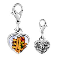 Link Charm Bracelet - 925  sterling silver city traffic light photo heart frame link charm Image.