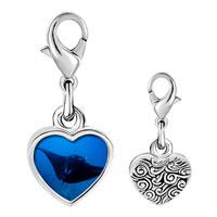 Link Charm Bracelet - 925  sterling silver ocean stingray photo heart frame link charm Image.