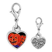 Link Charm Bracelet - 925  sterling silver halloween jack o'  lanterns photo heart frame link charm Image.